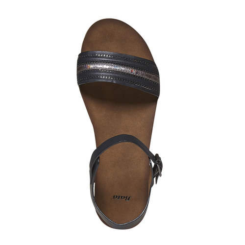 Sandali da donna dalla suola appariscente bata, nero, 561-6404 - 19