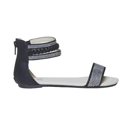 Sandali da ragazza con strass mini-b, nero, 361-9178 - 15