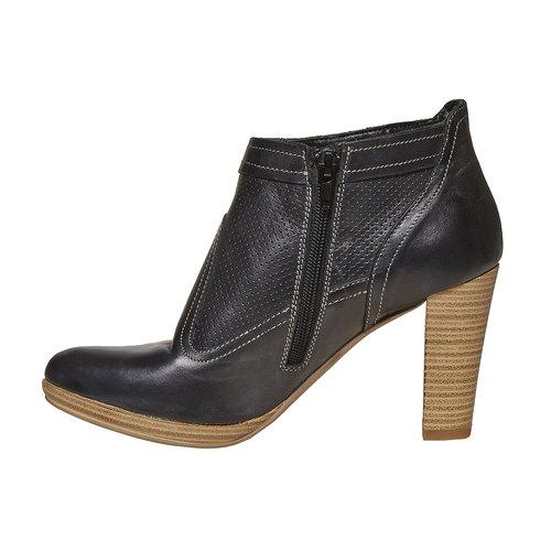Stivaletti in pelle alla caviglia bata, nero, 724-6556 - 18