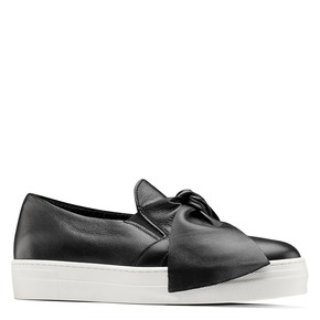 Sneakers in pelle con fiocco north-star, nero, 514-6264 - 13
