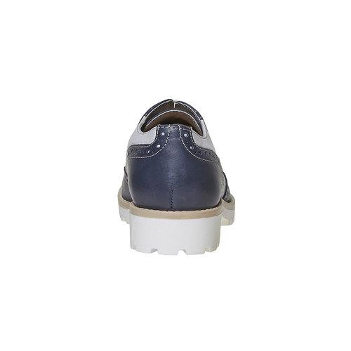 Scarpe basse in pelle da donna in stile Oxford bata, blu, 524-9128 - 17