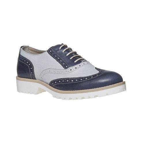 Scarpe basse in pelle da donna in stile Oxford bata, blu, 524-9128 - 13