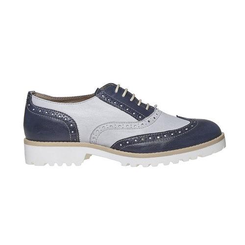 Scarpe basse in pelle da donna in stile Oxford bata, blu, 524-9128 - 15