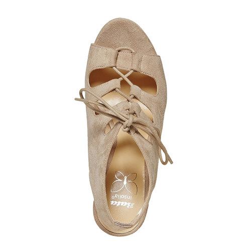 Sandali stringati con zeppa insolia, beige, 769-8559 - 19