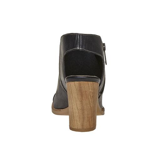 Scarpe in pelle da donna con tacco bata, nero, 724-6530 - 17