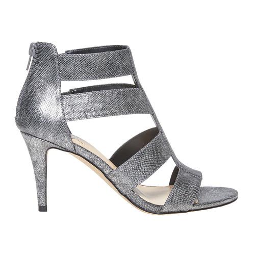 sandali metalizzati con tacco insolia, grigio, 761-2399 - 15