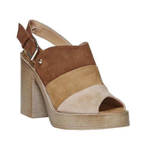 Sandali da donna con tacco stabile, marrone, 769-3252 - 13