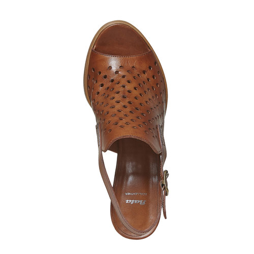 Sandali da donna in pelle con perforazioni bata, marrone, 764-3589 - 19