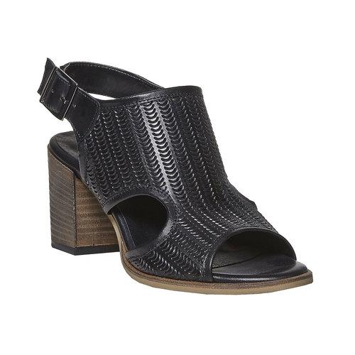 Sandali in pelle con perforazioni bata, nero, 764-6515 - 13