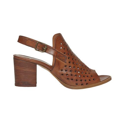 Sandali da donna in pelle con perforazioni bata, marrone, 764-3589 - 15
