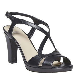 Sandali da donna in pelle bata, nero, 764-6587 - 13