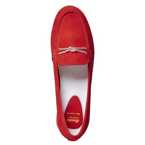 Mocassini in pelle da donna con lacci flexible, rosso, 516-5276 - 19