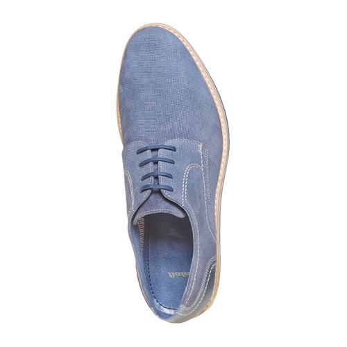 Scarpe basse in pelle con suola appariscente bata, blu, 823-9258 - 19