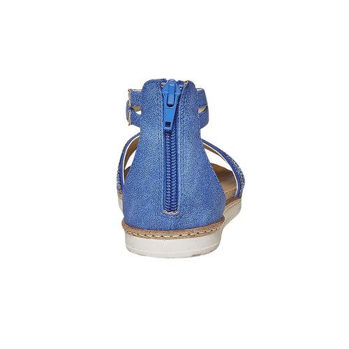 Sandali blu da ragazza con strass mini-b, blu, 361-9196 - 17