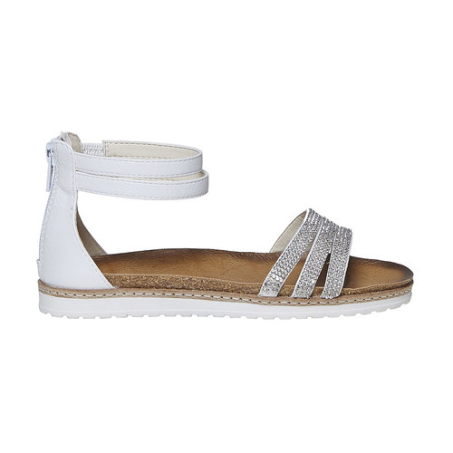 Sandali da ragazza con strass mini-b, bianco, 361-1196 - 15