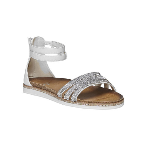 Sandali da ragazza con strass mini-b, bianco, 361-1196 - 13