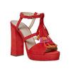 Sandali in pelle da donna con frange bata, rosso, 763-5583 - 13