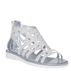 Sandali in pelle da ragazza mini-b, bianco, 363-1216 - 13