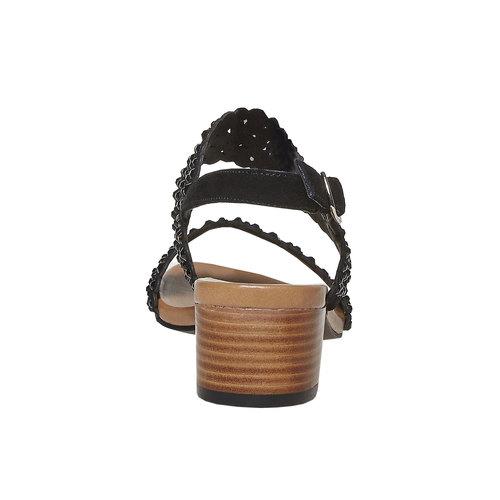 Sandali da donna in pelle con strass bata, nero, 663-6238 - 17