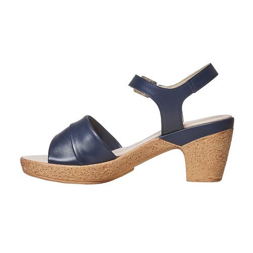 Sandali blu con tacco naturale bata-touch-me, blu, 664-9231 - 26