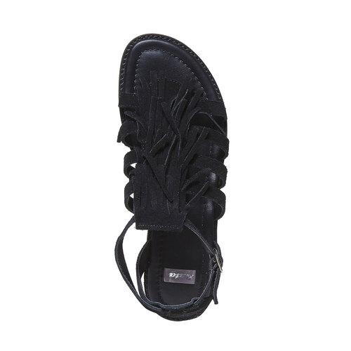 Sandali da donna in pelle con frange bata, nero, 563-6442 - 19
