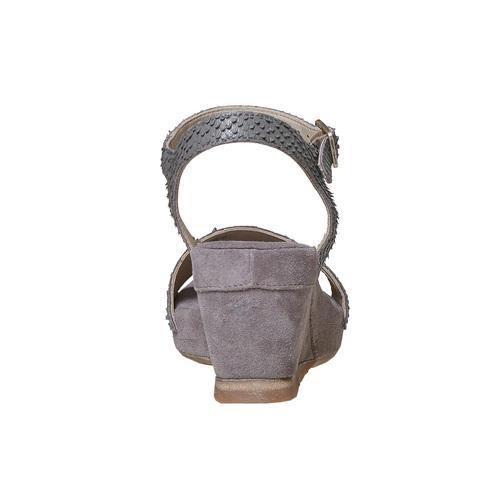 Sandali in pelle da donna con plateau bata, grigio, 764-2597 - 17