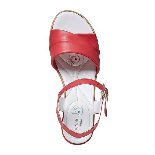 Sandali in pelle da donna con tacco bata-touch-me, rosso, 664-5231 - 19