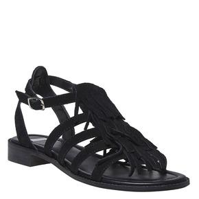Sandali da donna in pelle con frange bata, nero, 563-6442 - 13