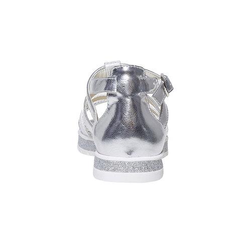Sandali argentati con applicazioni floreali mini-b, grigio, 361-2203 - 17