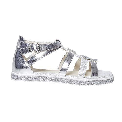Sandali argentati con applicazioni floreali mini-b, grigio, 361-2203 - 15