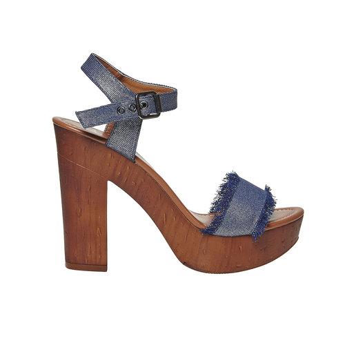 Sandali da donna con tacco naturale bata, blu, 769-9624 - 15
