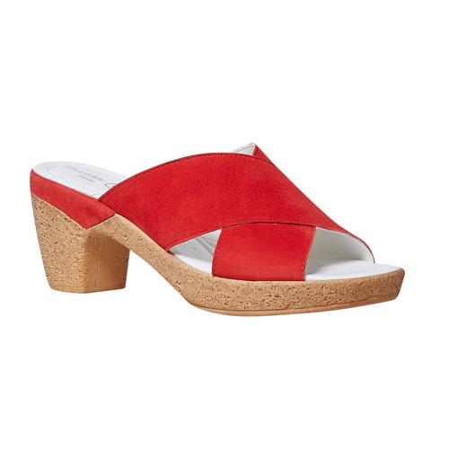 Slip-on in pelle da donna bata-touch-me, rosso, 663-5232 - 13