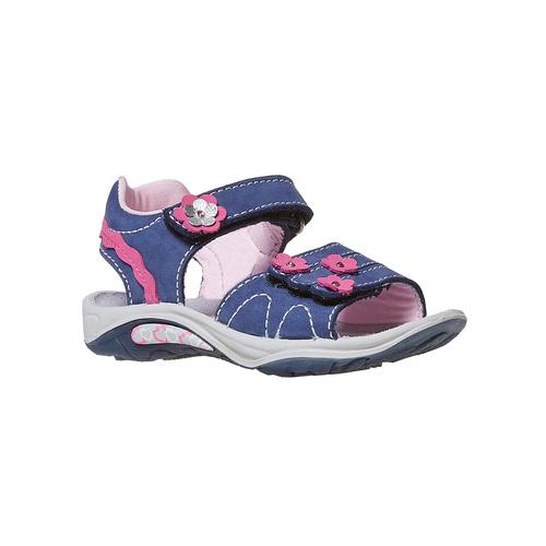 Sandali da bambina con applicazioni floreali, blu, 264-9198 - 13