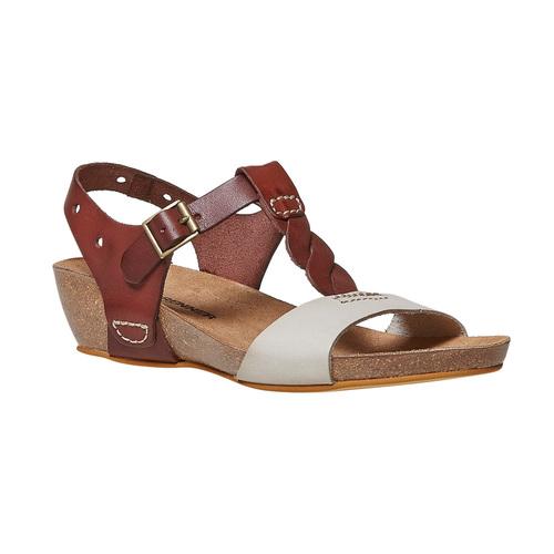Sandali da donna in pelle weinbrenner, marrone, 564-4455 - 13