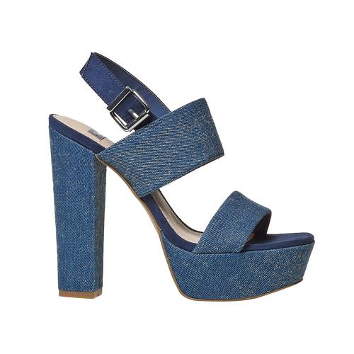 Sandali blu con tacco alto bata, blu, 769-9541 - 15