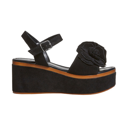 Sandali da donna in pelle con flatform bata, nero, 763-6686 - 15