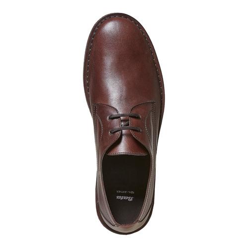 Scarpe basse in pelle marrone con cuciture bata, marrone, 854-4111 - 19