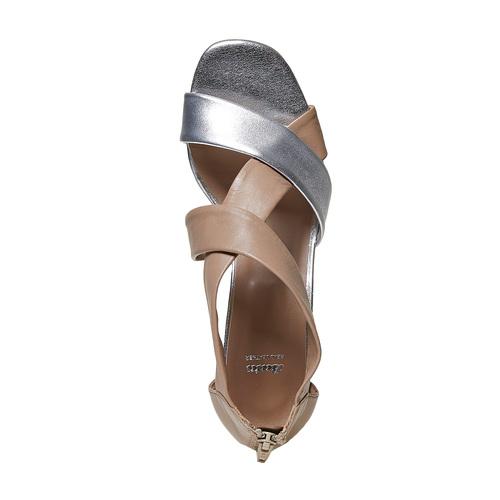 Sandali da donna in pelle con tacco bata, bianco, 764-1684 - 19
