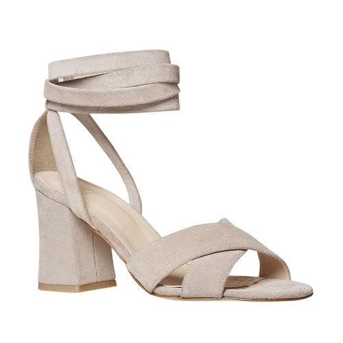 Sandali in pelle color crema bata, beige, 763-8676 - 13