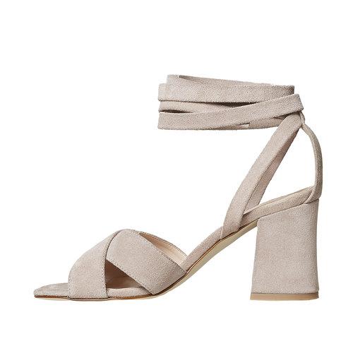 Sandali in pelle color crema bata, beige, 763-8676 - 26