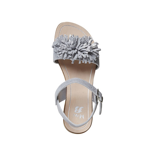 Sandali in pelle da bambina con frange mini-b, bianco, 363-1224 - 19