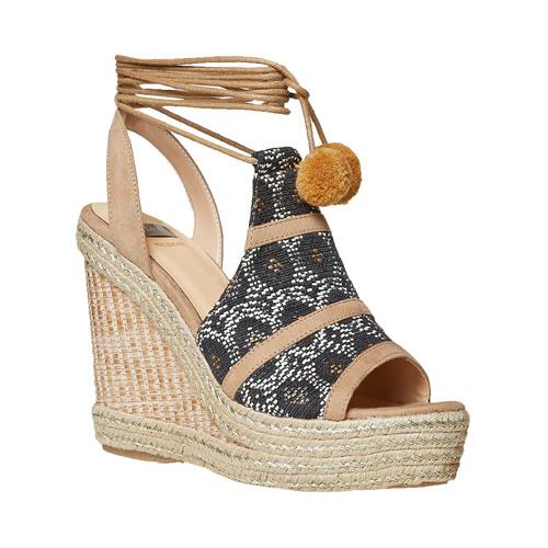 Sandali da donna con plateau e lacci bata, grigio, 769-2574 - 13