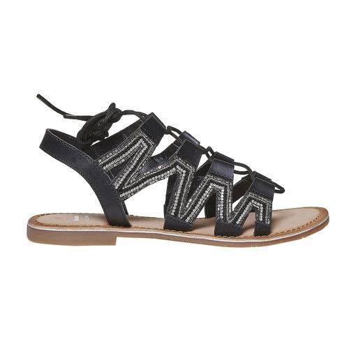Sandali da donna in pelle con lacci bata, nero, 564-6457 - 15