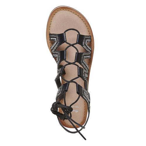 Sandali da donna in pelle con lacci bata, nero, 564-6457 - 19