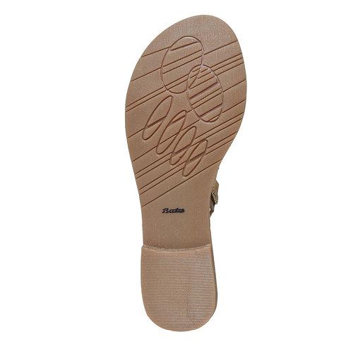 Sandali in pelle da donna con perline bata, giallo, 564-8457 - 26