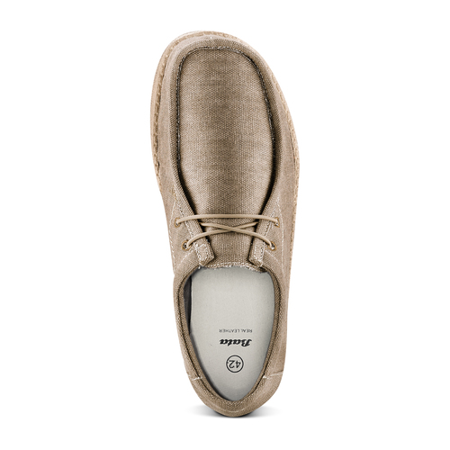 Stringate in canvas bata, beige, 859-2280 - 17