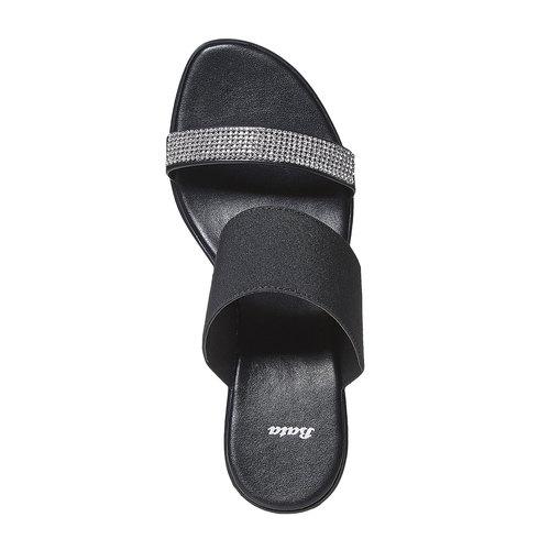 Slip-on con zeppa e strass bata, nero, 779-6101 - 19