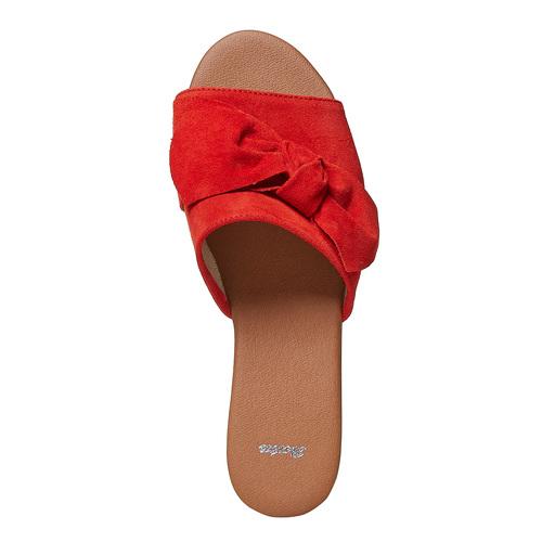 Slip-on in pelle da donna bata, rosso, 563-5411 - 19