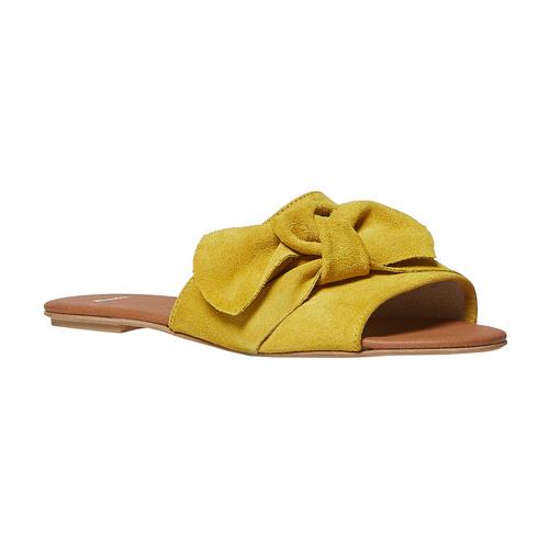 Slip-on in pelle da donna bata, giallo, 563-8411 - 13