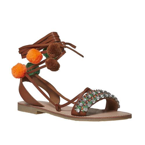 Sandali da donna con lacci bata, marrone, 561-4497 - 13